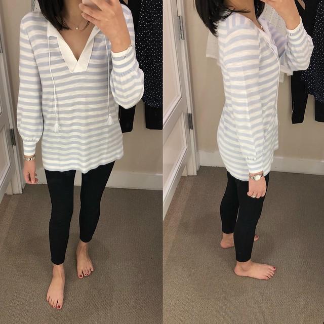 LOFT Striped Tasseled Tie Cuff Sweater Tunic, size XS regular