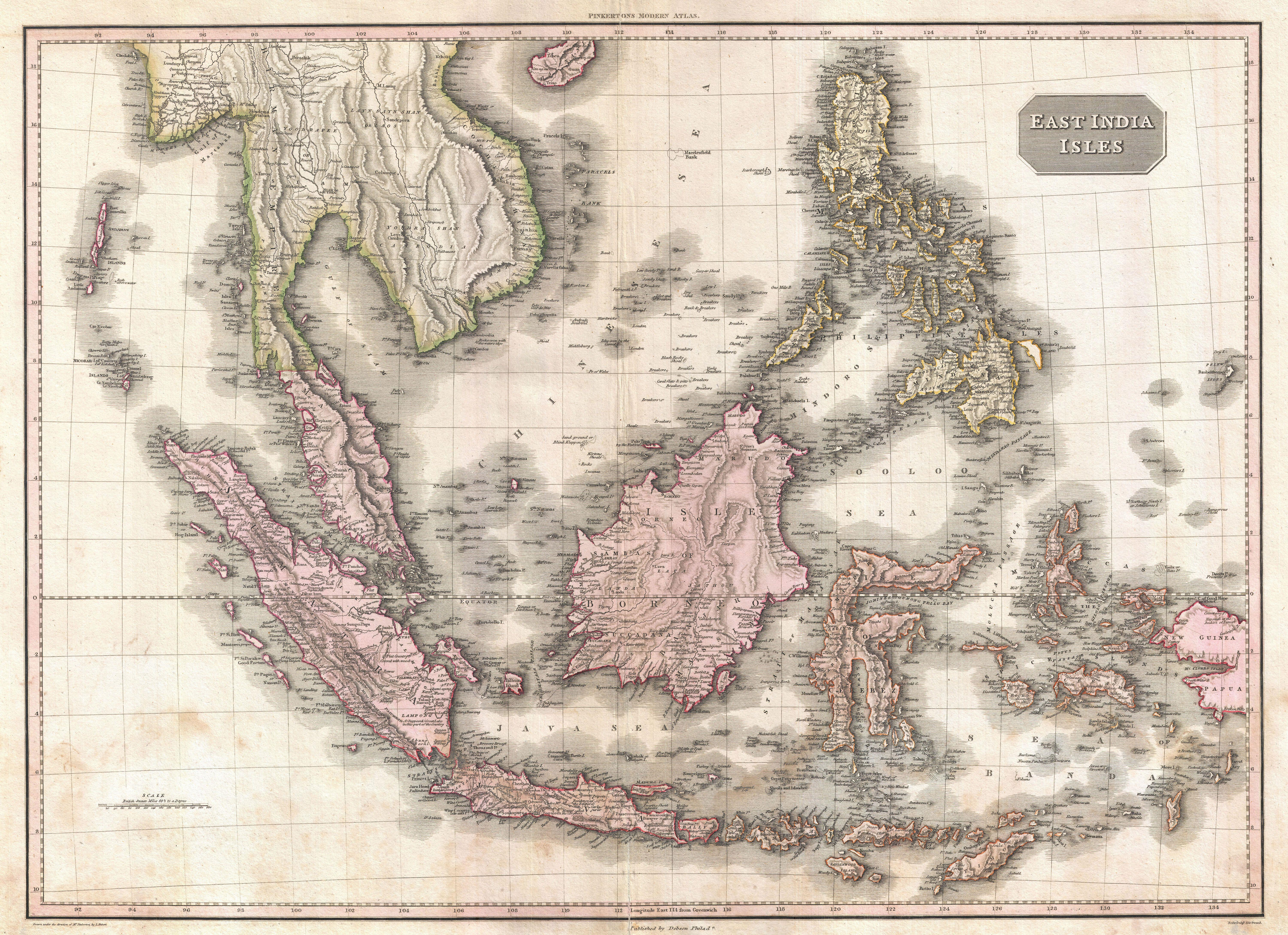 Pinkerton Map of the East Indies and Southeast Asia, 1818