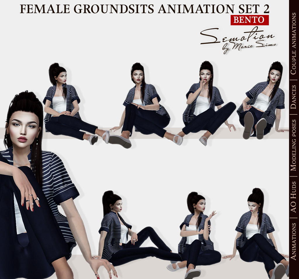 SEmotion Female GroundSits Set 2 - 10 HQ Bento Sitting & Lying Animations - TeleportHub.com Live!