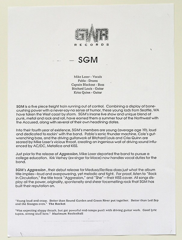"GWR Records Insert with background information on the SGM band and their album ""Agression"""