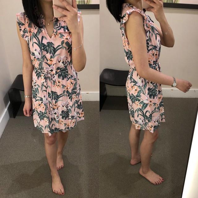 LOFT Lily Ruffle Tie Waist Dress, size XSP