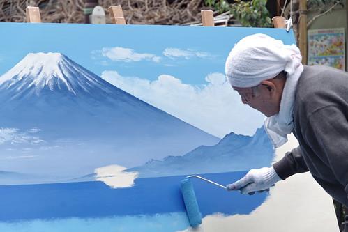 Mt.Fuji public bath landscape live painting 14