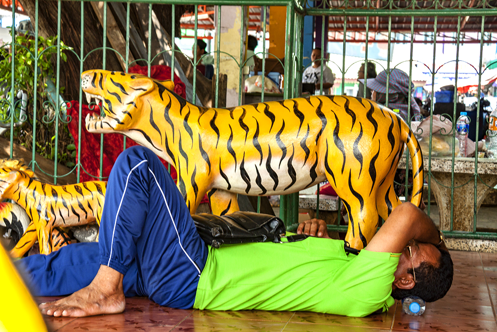 Man and tiger statues--Thep Nimit