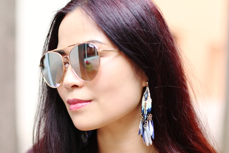 quay-sunglasses-charming-charlie-feather-earrings