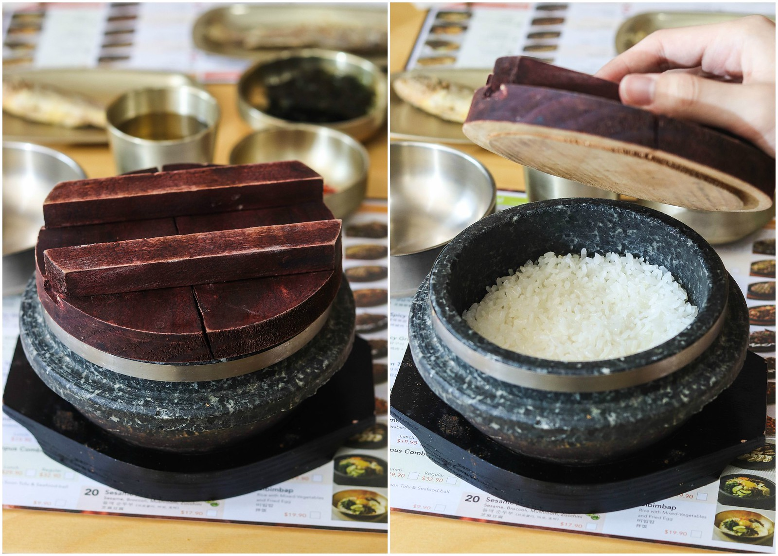 hot stone rice-collage