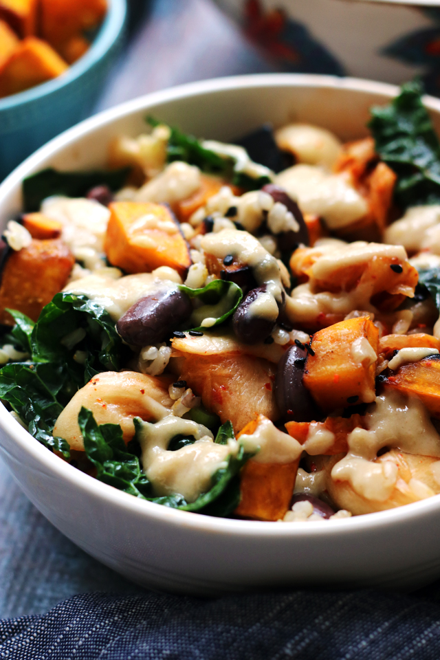 Vegetarian Macro Bowls with Miso-Glazed Kabocha Squash, Kimchi, Brown Rice, and Tahini Sauce