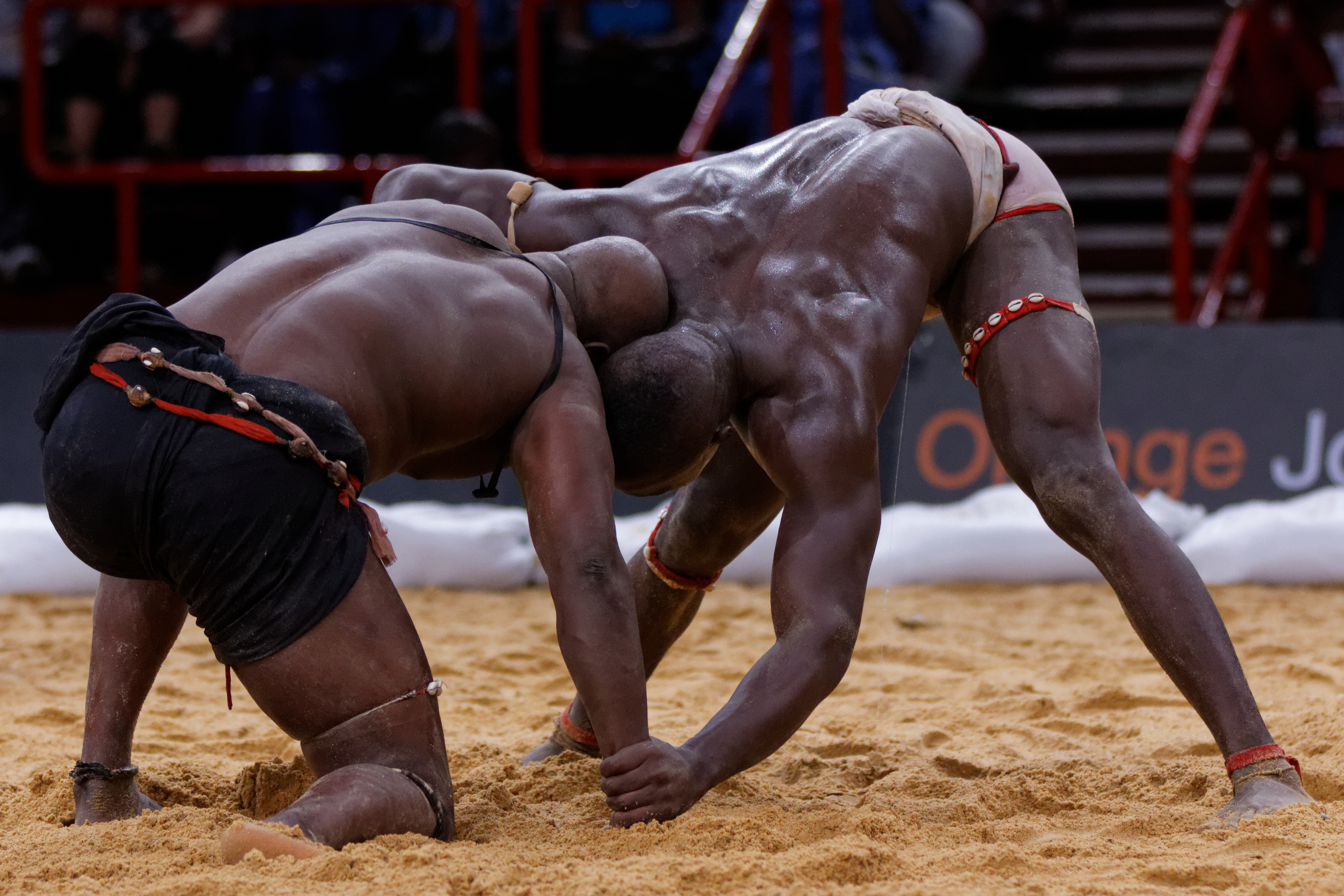 Indoor Senegalese wrestling during the World African Wrestling World Tour, Mame Balla versue Pape Mor Lô at Palais Omnisports de Paris-Bercy. Photo taken on June 8, 2013.