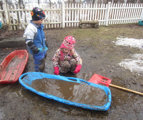 a sled full of water