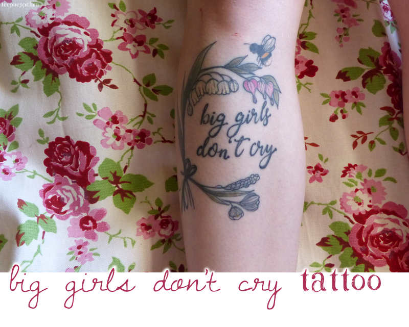 big girls don't cry dirty dancing flower floral bumble bee script leg tattoo