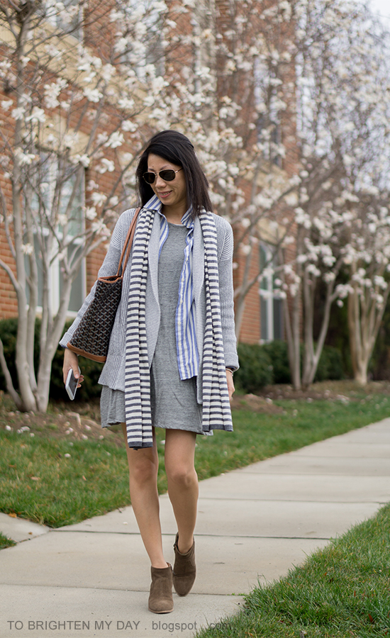 striped scarf, gray oversized open cardigan sweater, blue striped shirt, gray dress, printed tote, suede ankle boots