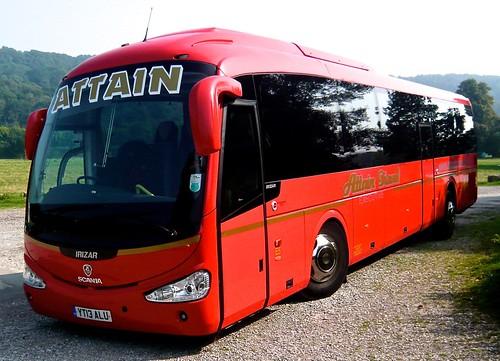 YT13 ALU 'Attain Travel'. Scania K320IB4 / Irizar i4 on 'Dennis Basford's railsroadsrunways.blogspot.co.uk'