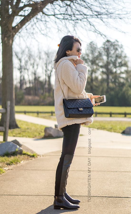 teddy sherpa coat, black crossbody bag, black skinny jeans, over the knee leather boots