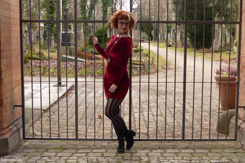 red velvet dress outfit handmade midcentury 60s hell bunny coat witch talisman bohemian