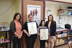 CT State Rep. Rosa Rebimbas (R-Naugatuck) presented citations to two students Amy Morrissey (second from right) and Jaylynn Elaine Ham (second from left) at the Hillside Intermediate School for their performance in a local essay contest. The students wrote about prominent women in Connecticut history. Also pictured is school Principal Joanna Hunt.
