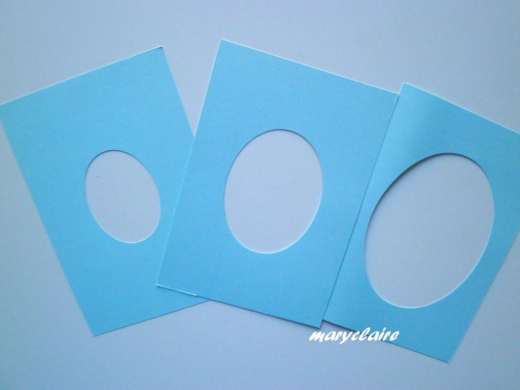 3 cartoncini con 3 ovali