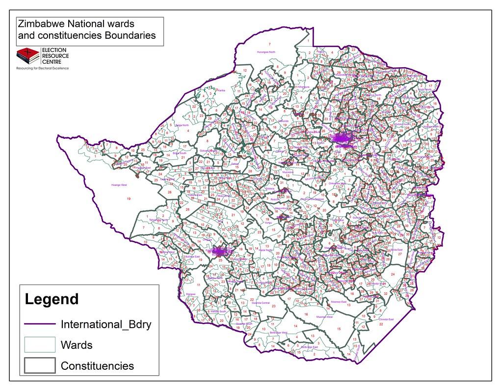 Zimbabwe National wards & Cons Map