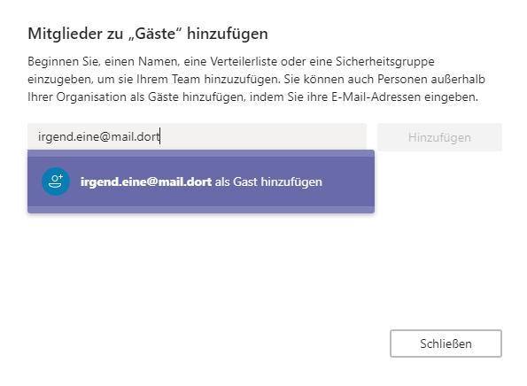Microsoft Teams Gastzugang (2): Emailadresse eingeben