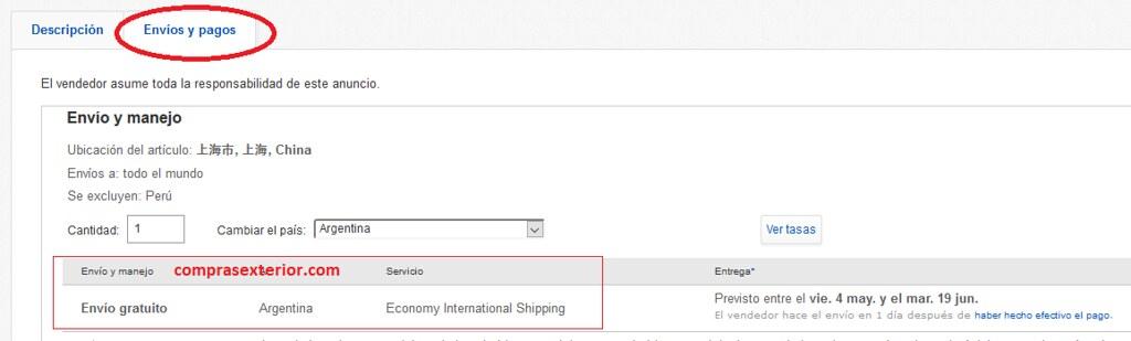 elegir el metodo de envio de ebay