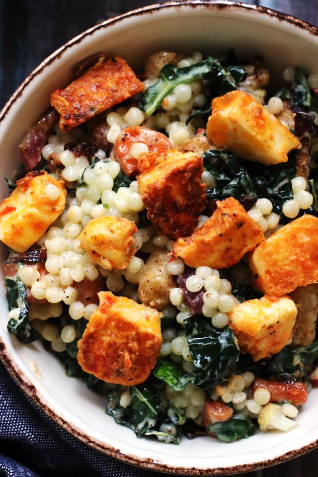 Roasted Cauliflower and Israeli Couscous Salad with Harissa-Marinated Halloumi