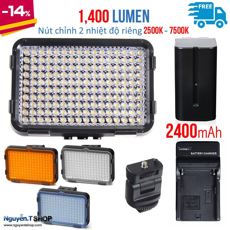Bộ đèn led XT-160II loại 2 nhiệt độ màu 2500-7500K kèm Pin và Sạc