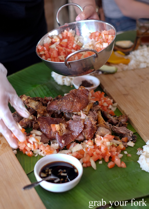 Crispy pata deep fried pig trotters for our boodle fight at Sizzling Fillo in Lidcombe Sydney