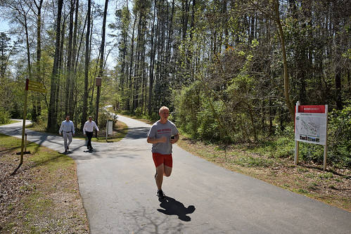 Rocky Branch Trail users pass the new bat house located along the greenway between Derr Track and Western Blvd.