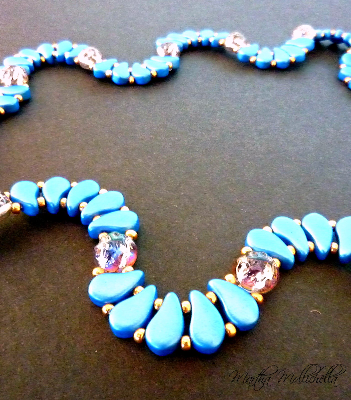 Handmade necklace made with paisley beads and two holes baroque cabochon Martha Mollichella design