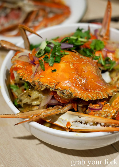Crab tom yum creamy at the all-you-can-eat crab festival at Yok Sod Thai at Mr B's in Haymarket Sydney