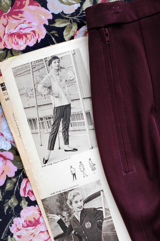 marchewkowa, blog, szycie, sewing, rękodzieło, handmade, moda, styl, vintage, retro, Wrocław szyje, w starym stylu, trousers, cigarette pants, pedal pushers, 1950s, fashion, spodnie, marchewki, cygaretki, wykrój, Junge Mode, pattern