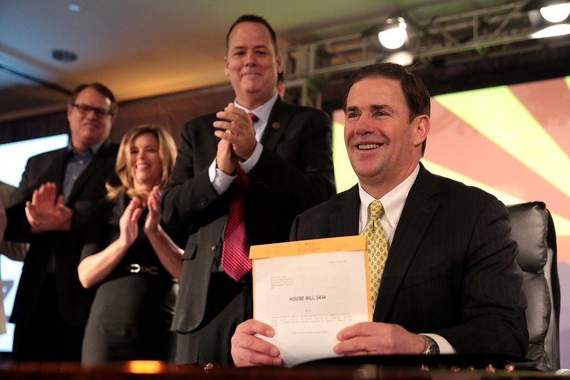 Doug Ducey with supporters