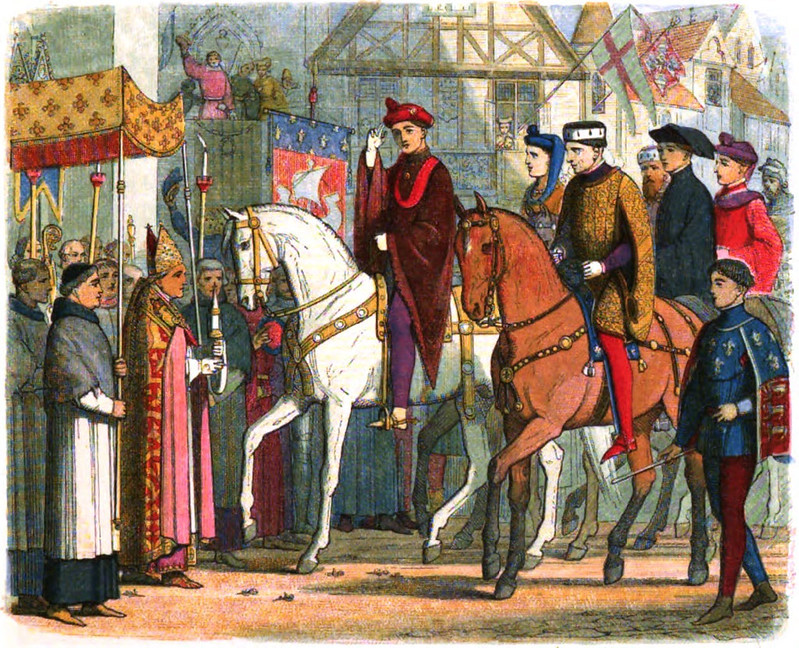 Henry V, King of England, and his father-in-law, Charles VI of France, enter the city of Paris