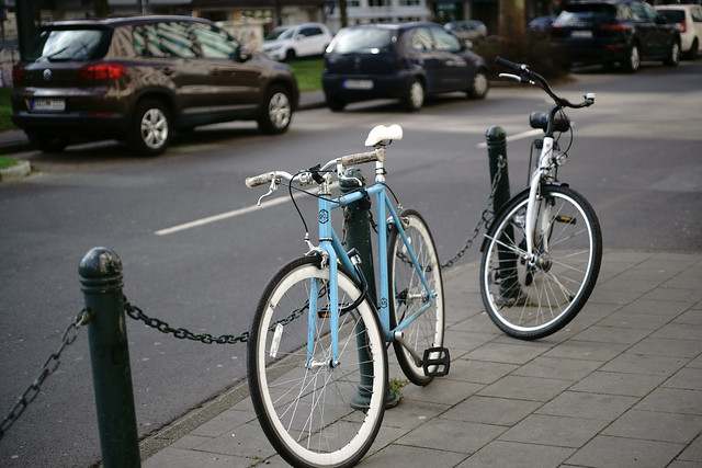 bicycle in light blue@Düsseldorf