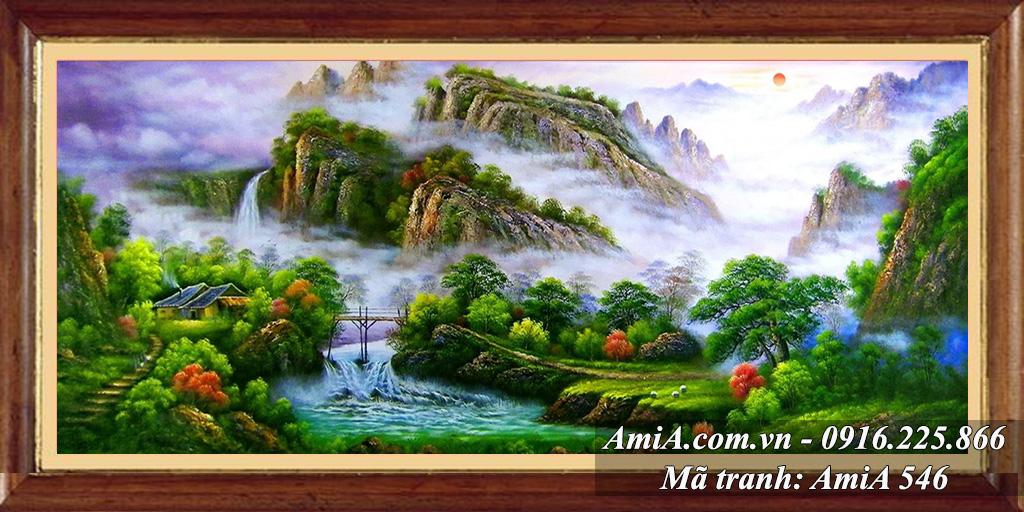 Tranh cảnh đẹp Trung quốc thác nước sông núi mây trời
