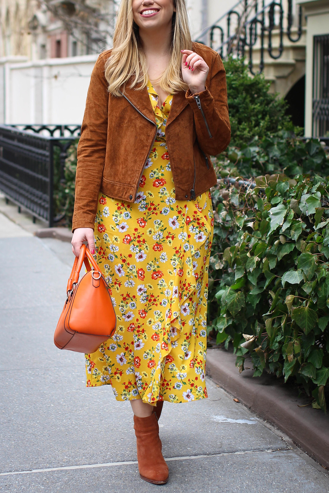 Blank NYC Brown Suede Jacket Yellow Floral Ruffle Wrap Dress Spring Outfit Ideas NYC
