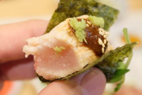 おっぱいの磯辺焼き 醤油麹 お刺身4種盛り肉と魚
