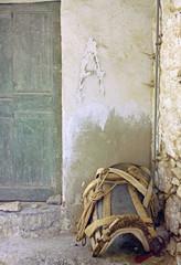 ezelzadel op straat op Chios