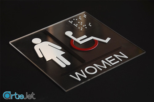 Braille LED UV printing suitable for acrylic and / or glass signage and transparent materials
