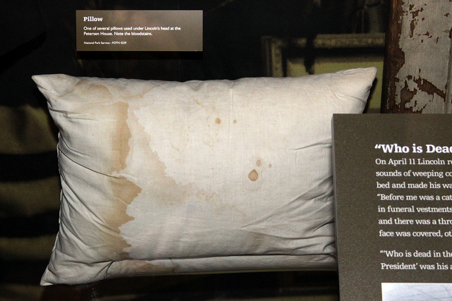 One of several pillows placed under Abraham Lincoln's head at the Petersen House on the night of April 14-15, 1865. Note the bloodstains. On display at the Ford's Theater Museum, Washington, D.C. Photo taken on April 1, 2004.