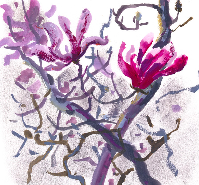 Sketchbook #112: Magnolia Flowers in Gouache