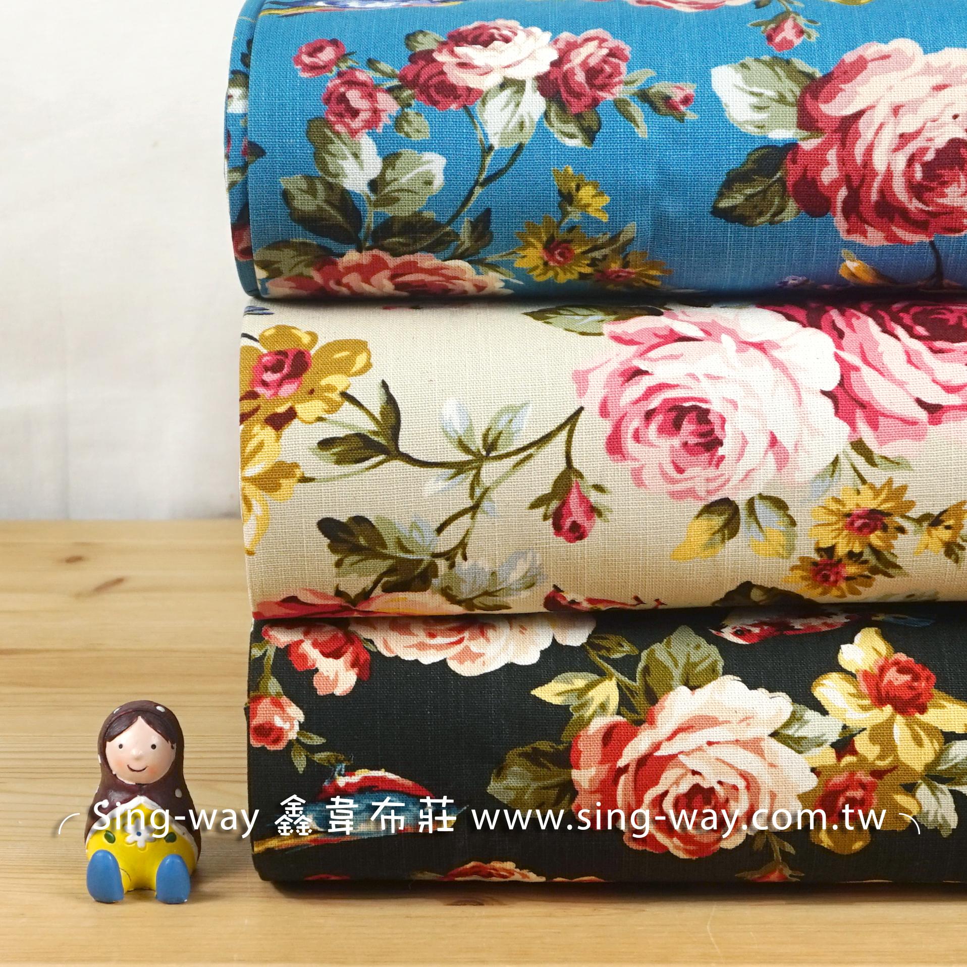 玫瑰綻放 (大特價) 薔薇 ROSA 法式優雅花卉 手工藝DIy拼布布料 CF550646