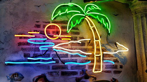 Neon Sign - the Tropics (built in the wall) at Combs BBQ Central - Middletown, Ohio