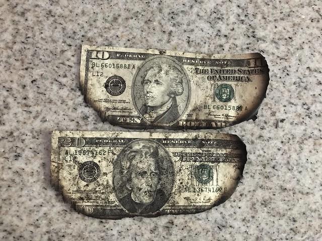 burnt dollar bills from my mother