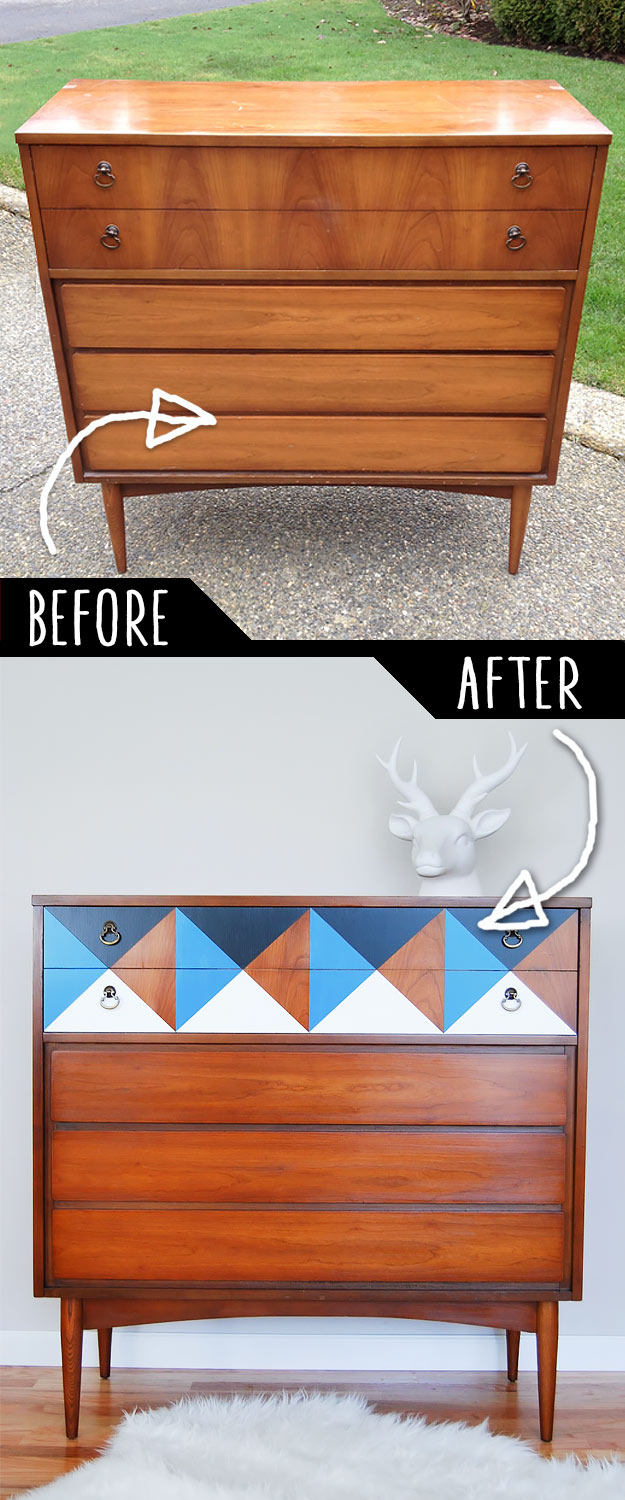 a geometric makeover to a dresser