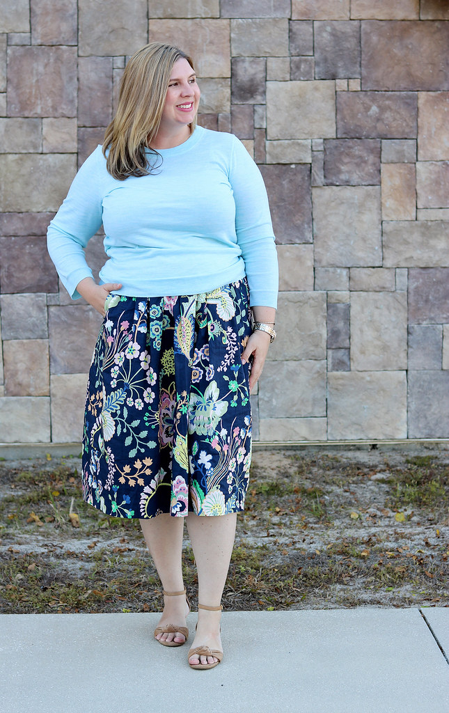floral cotton midi skirt, aqua tippi, nude wedge sandals 4