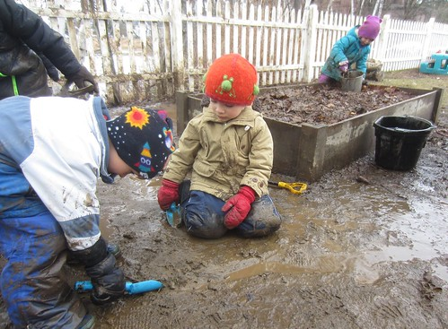digging a channel in the mud