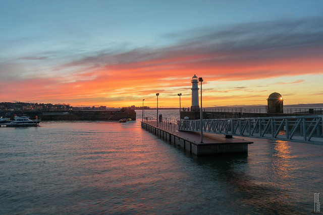 Red sky over Newhaven harbour
