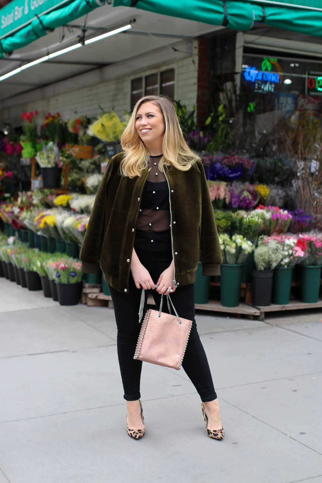 How to Wear a Bomber Jacket Spring 2018 New York Outfit Living After Midnite Jackie Giardina Fashion Blogger