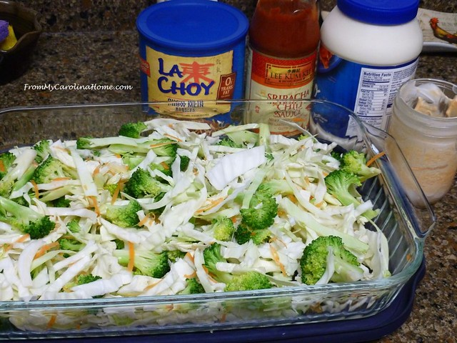 Asian Broccoli Cabbage Salad at From My Carolina Home