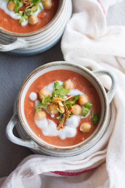 Tomato Coconut Soup with Chickpeas
