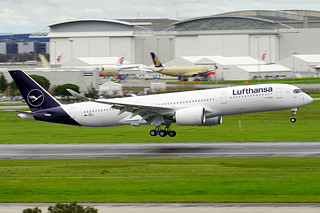 First Lufthansa's Airbus A350 with the revised livery back from maiden flight.